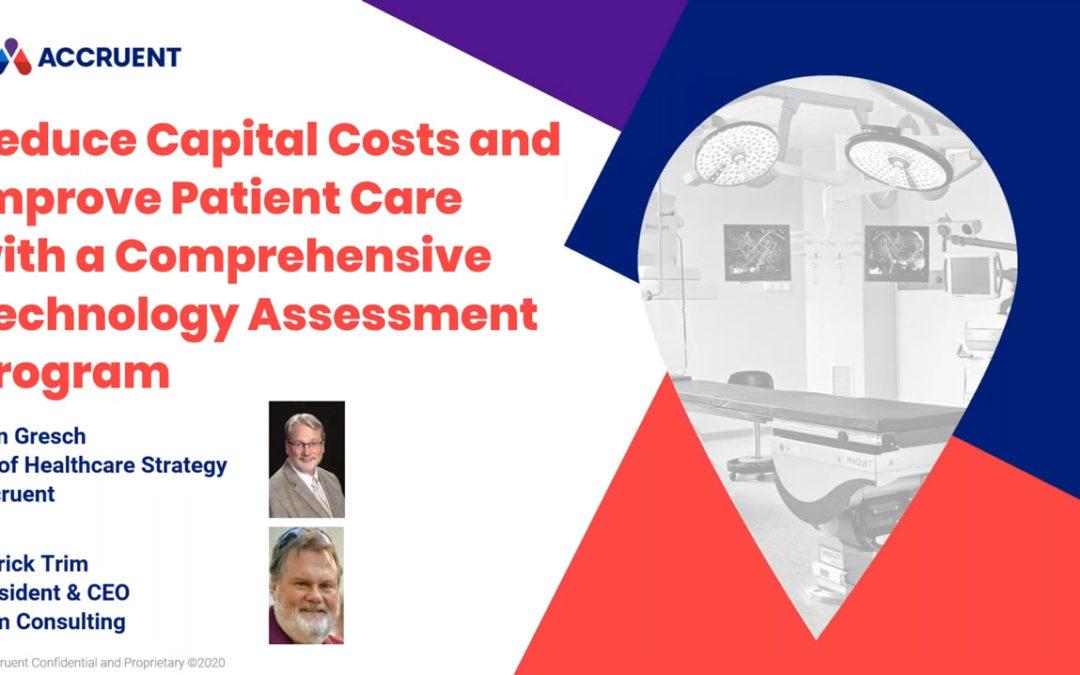 Webinar Addresses Capital Costs and Patient Care Improvements